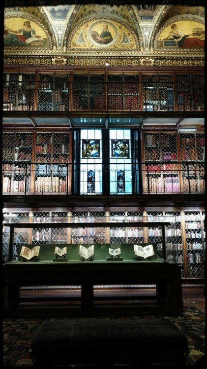 The Morgan Library - view of books and a painted ceiling