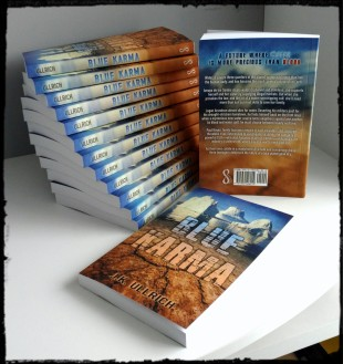 """Book display of """"Blue Karma"""" copies"""